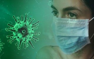 coronavirus and woman with surgical mask