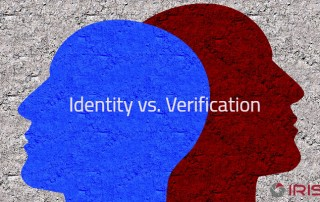 Two silhouettes of heads. Graphic for identification vs. Verification